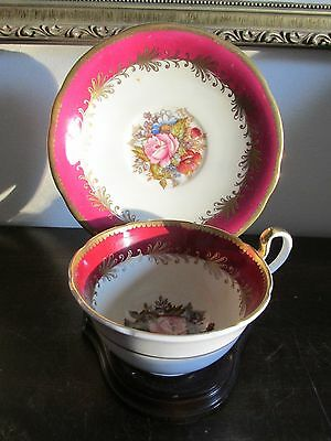 Aynsley England Signed J. A. Bailey Cup And Saucer Burgundy Red Rose Gold
