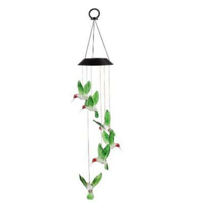 Solar Color Changing LED Hummingbird Wind Chimes Light Home Garden Decor