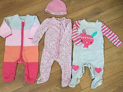 3 Mothercare Baby Girl Bundle All In One Outfits Age 3-6 Months