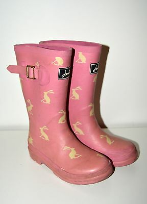 Joules girls wellies wellington boots size 11 pink rabbit design