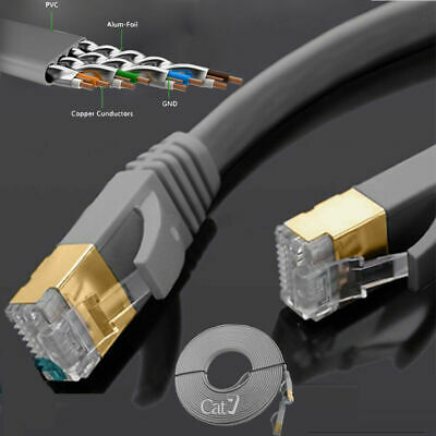 Flat RJ45 CAT7 Network LAN Ethernet SSTP 10Gbps Gigabit Patch Cable 1m - 5m LOT