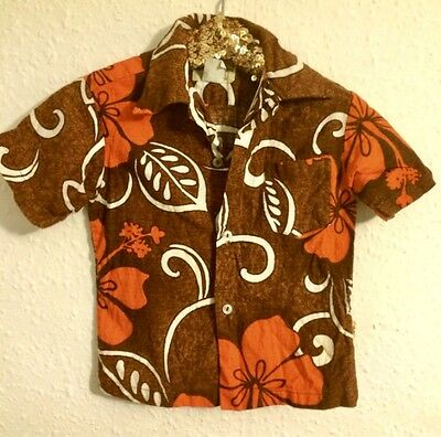 Vintage Kids 1960s Hawaiian Shirt Hukilau Tropical Orange RARE 2 to 3 years