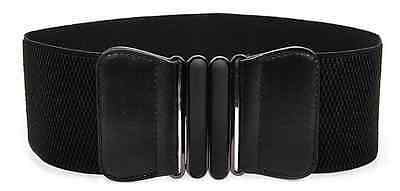 Black Faux Leather Wide Elastic Buckle Thin waist belt