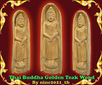 Handmade!Thai Amulet Buddha Standing Statue GoldenTeak Wood Carving Old Antique