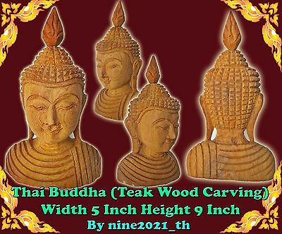 Handmade!Thai Amulet Buddha Statue Golden Teak Wood Carving Old Antique