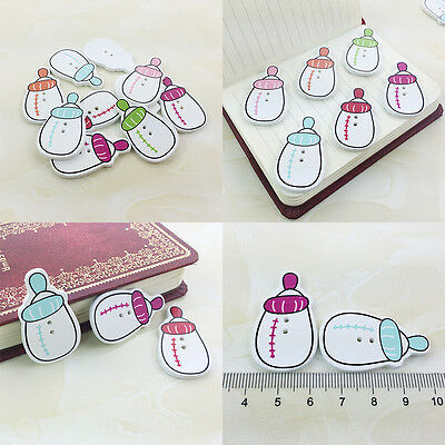 20/50/100 Bulk Cute Bottle Wooden Sewing Buttons Scrapbooking 2Holes For Baby