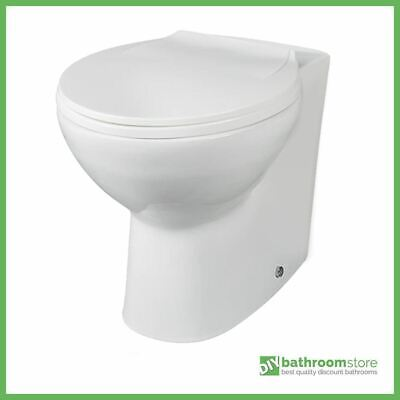 BTW Back To Wall Pan Round Toilet WC Modern Quick Release Soft Close Seat