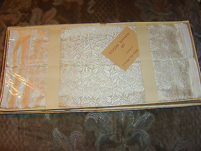 Vintage damask tray cloths in original box and unopened Selophane