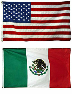 2x3 2'x3' Wholesale Combo USA American & Mexico Mexican Flag Banner Grommets