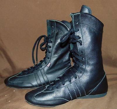 Lonsdale Black Leather Size 7/Eur 40 Matt/Boxing Shoes EUC Made in UK!