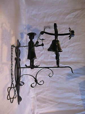 Vintage Wrought Iron Quaker Pull Chain Door Bell