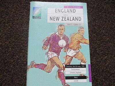 ENGLAND v NEW ZEALAND ALL BLACKS RUGBY WORLD CUP PROGRAMME 3 OCT 1991 Twickenham