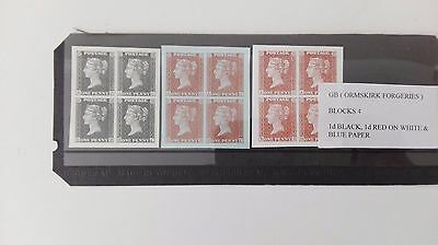 GB ( ORMSKIRK FORGERIES ) 1d BLACK & 1d RED BLOCKS OF 4