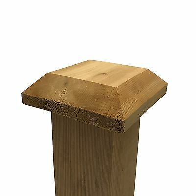 "Flat Top Cedar Wood Post Cap / Finial Base, for 4"" x 4"" Fence and Deck Posts"