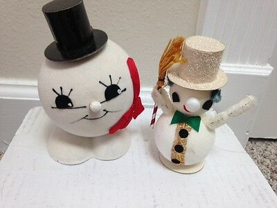 Two Vintage Snowman Ornaments - 1968 and 1970 - Germany
