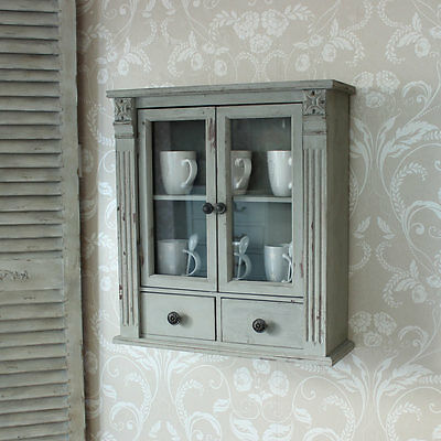 grey wooden wall cabinet shabby vintage style home chic home furniture display