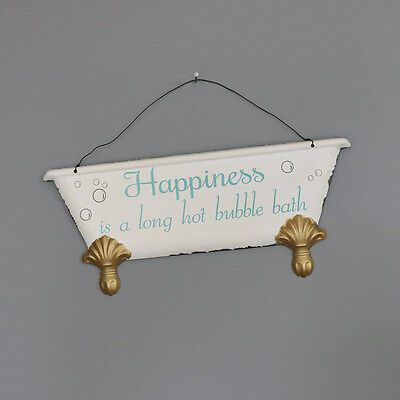 'Happiness is' Hanging Bathroom Wall Plaque sign wall hanging bath vintage home