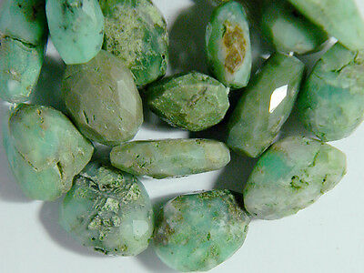 21 Faceted Mayan Olemec Culture Style Natural Green AMAZONITE Beads Strand