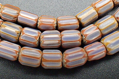 Venetian Glass White & Sky Blue Chevron African Trade 5 Layer Bead Strand #4798