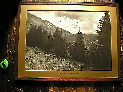 Three Large Framed Black and White Photographs of Alpine Scenes