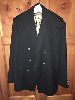 Men's Burberry Double Breasted Navy Blazer