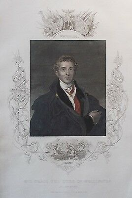 The Duke Of Wellington, Waterloo, Engraving From Around 1860, Hand Coloured.