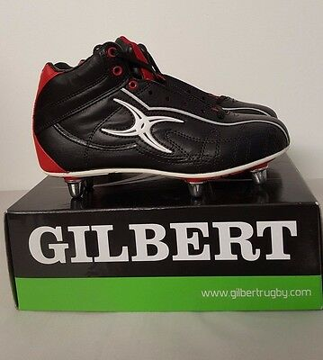 Clearance New Gilbert- Sidestep Hi Hard Toe Rugby Boots Black Red 6 Stud Size 3