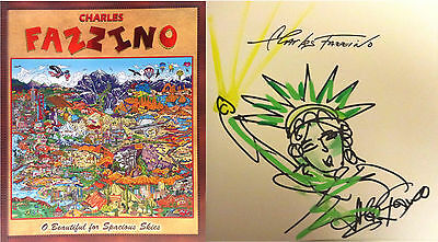 CHARLES FAZZINO signiert signed O Beautiful for Spacious Skies Zeichnung