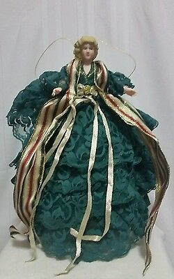 """Angel Figurine Handcrafted Lace Angel Christmas Tree Topper Decoration 16""""    tk"""