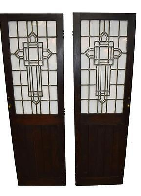 Pair of Arts and Crafts Leaded Glass Oak Pantry Doors