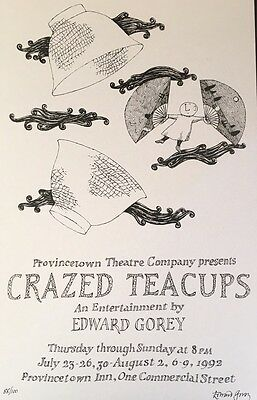 Edward Gorey *Crazed Teacups* poster- Ltd Ed. - ILLUSTRATED & SIGNED by GOREY