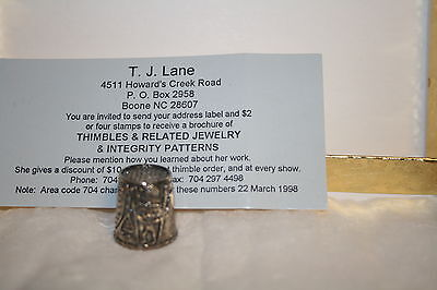 Vintage T.J. LANE Handcrafted Sterling Silver Thimble Girl with Needle & Thread