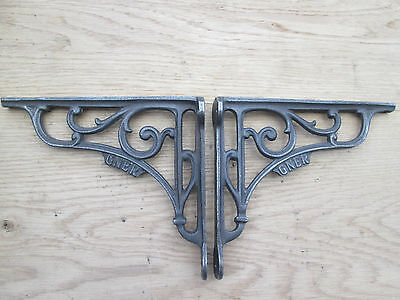 "7"" PAIR GNER RAILWAY antique Vintage style cast iron shelf bracket wall mounted"