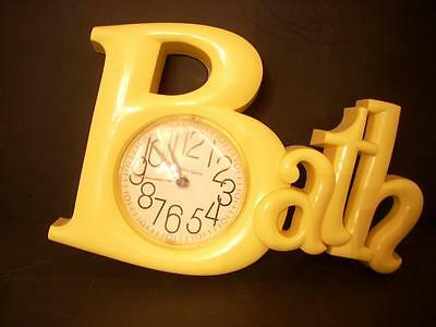 """Burwood Products Yellow """"bath"""" Clock Works Battery Operated Usa  (32)"""