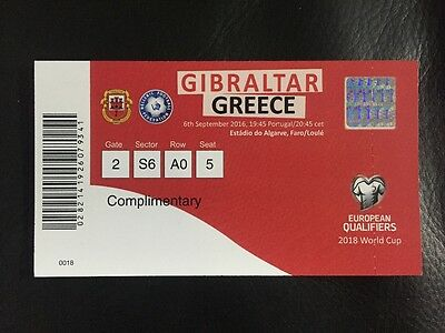 Gibraltar v Greece unused ticket World Cup Gibraltars first game as FIFA member