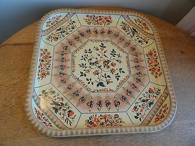Vintage Daher Decorated Ware Square Tin Tray Birds & Floral From England