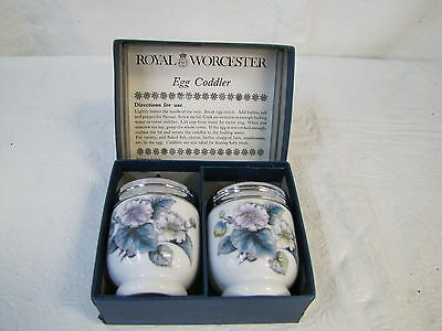 Royal Worcester Pair Egg Coddler Pottery Glass Kitchen ware Collectibles China
