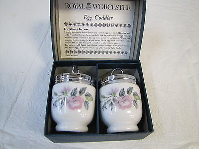 Royal Worcester Pair Egg Coddler Pottery Glass Kitchen Collectibles China