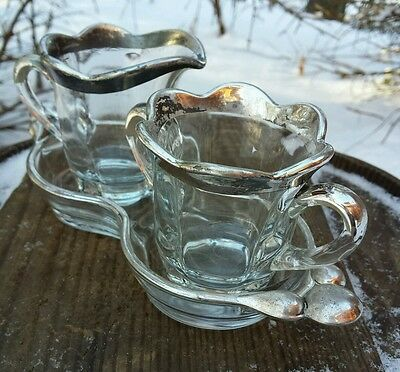 VTG Sterling Silver Overlay Crystal Glass Creamer Sugar Bowl Mid-Century Set