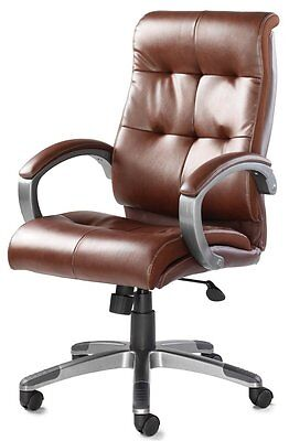 Luxurious High Quality Brown / Tan Buttoned Real Leather Executive Office Chair