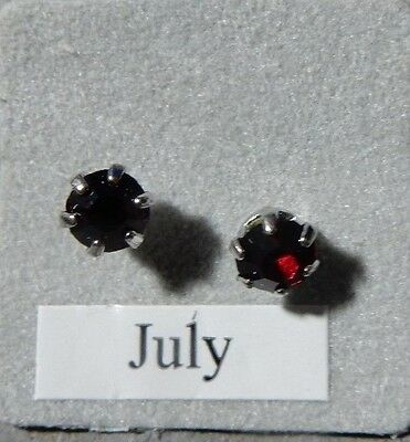 Birthstone Earrings-July-Pierced-Red