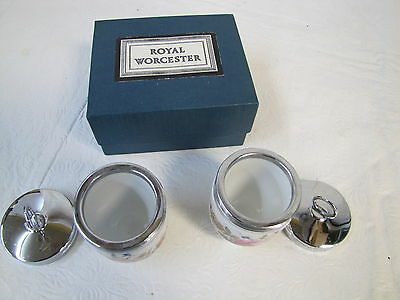 Royal Worcester Pair Egg Coddler Pottery Glass Kitchen Collectibles Rose Flowers