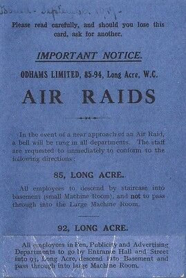 Air Raid Information Booklet World War I 1914 - 1918 Home Front The Great War
