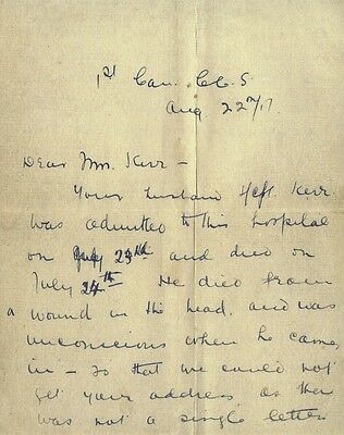 World War I Letter of Condolence from Hospital Following a Soldiers Death