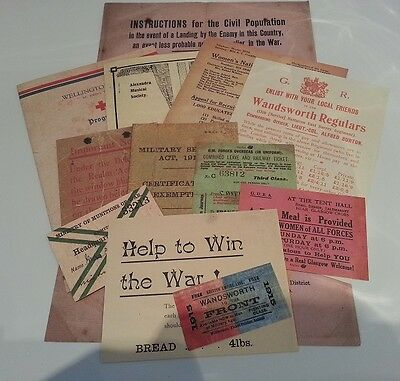 12 World War I Leaflets / Cards Home Front National Service World War I 1914