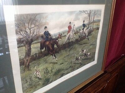 4 Original Engravings By G.d.rowlandson, Framed Glazed, Hunting Sceens