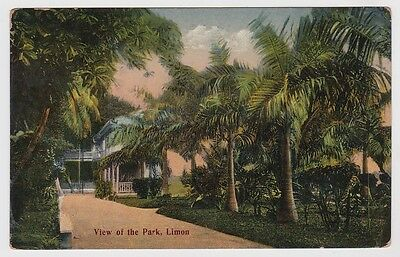 Costa Rica Postcard To Canada View of the park, Limon 1915 JBP