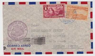Costa Rica Cover To Chile University Stamp 1942 JBP
