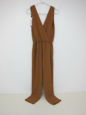Boohoo Hannah Plunge Wrap Over Jumpsuit - Womens Large - Camel - NWT