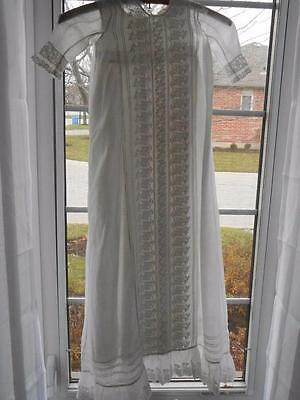 Antique Batiste BABY CHRISTENING GOWN & SLIP Exemplary WHITE WORK EMBROIDERY